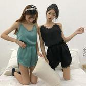 【熊貓】小清新寬鬆吊帶純色睡衣 短褲套裝居家服