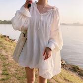 壓摺感V領寬鬆袖女裝上衣 甜美輕飄泡泡袖長版上衣 艾爾莎【TAE6852】