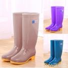 雨鞋高筒雨鞋女士水鞋女雨靴長筒時尚防水鞋廚房防滑膠鞋工作套鞋  COCO