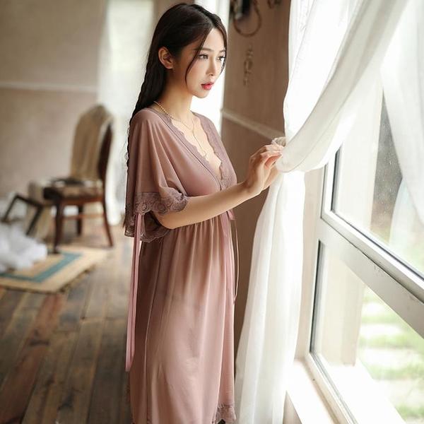 睡衣 健性感睡衣透明網紗女式夏火辣調情寬鬆胖mm大碼睡裙