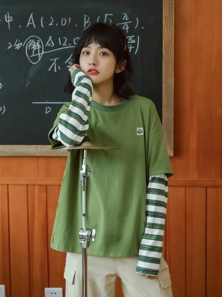 2019初秋新款假兩件上衣潮長袖牛油果綠t恤女寬鬆韓版學生拼接 陽光好物