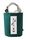 圓形飯盒袋大號上班族手提袋子保溫桶包包便當袋圓桶包帶飯便當包
