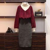 大尺碼XL-4XL針織毛衣半身裙兩件套大碼裝洋氣套裝减齡胖mm毛衣 裙子胖妹妹兩件套裝裙4F085-6132