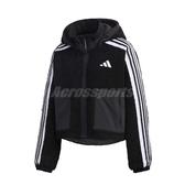 adidas 外套 Urban BOA Jacket 黑 白 女款 絨毛 短版 連帽外套 運動休閒 【ACS】 GM1426