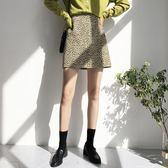 秋冬新款a字裙性感豹紋短裙高腰包臀半身裙女百搭
