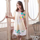 【Young Curves】牛奶絲質短袖連身睡衣-C01-100563白熊氣球海