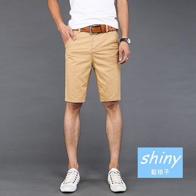 【Y108】shiny藍格子-夏日穿搭.夏季新款潮男修身休閒五分褲