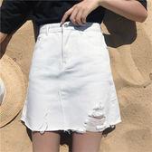 春夏韓版高腰不規則破洞牛仔裙個性A字裙包臀裙半身裙短裙顯瘦女