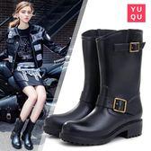 雨趣防水雨靴成人時尚防滑膠鞋中筒水靴水鞋套鞋機車雨鞋女『韓女王』