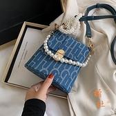 小包包時尚珍珠斜挎包女包百搭單肩水桶包【橘社小鎮】