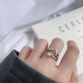 個性復古星星指環s925純銀戒指chic網紅女款潮流五角星銀戒飾品