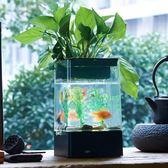 魚缸沖皇冠USB桌面迷你小魚缸 帶LED燈水族箱印象部落