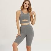 瑜珈服套裝(兩件套)-無袖鏤空上衣五分褲女運動服2色73zk9【時尚巴黎】