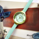 rumba time / RU28072 / Orchard Gem Leather 紐約品牌 切割玻璃鏡面 日本機芯 真皮手錶 湖水綠x金框 30mm