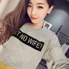 韓版簡潔方塊英文字母寬鬆蝙蝠袖上衣 O-Ke【 CC1356】-白色F