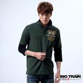 Big Train 骷髏七分袖POLO衫-男-深綠-B8054846