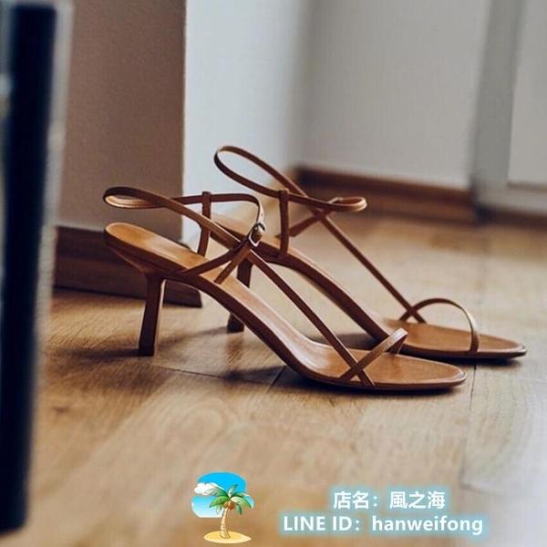 高跟鞋 細帶涼鞋細跟高跟鞋一字帶小跟女鞋 風之海