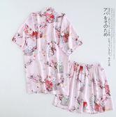 女士夏季人棉兩件套和服棉綢短袖短褲日式和服睡衣薄款家居服汗蒸免運直出 交換禮物