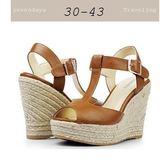 大尺碼女鞋小尺碼女鞋丁字羅馬麻編楔型厚底涼鞋魚口鞋棕色(30-43)現貨#七日旅行