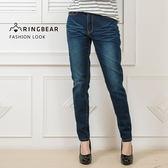 窄管褲--復古率性古典質感鈕扣雙色裝飾線假兩層後口袋丹寧褲(藍M-3L)-C97眼圈熊中大尺碼