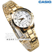 CASIO卡西歐 LTP-V004G-7B 都會數字錶 指針腕錶 女錶 不銹鋼帶 金色 指針錶 防水手錶 LTP-V004G-7BUDF
