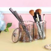 ✭米菈生活館✭【P385】蝴蝶雕花系列-雙筒收納盒 化妝品 壓克力 桌面 整理盒 乾淨 防塵