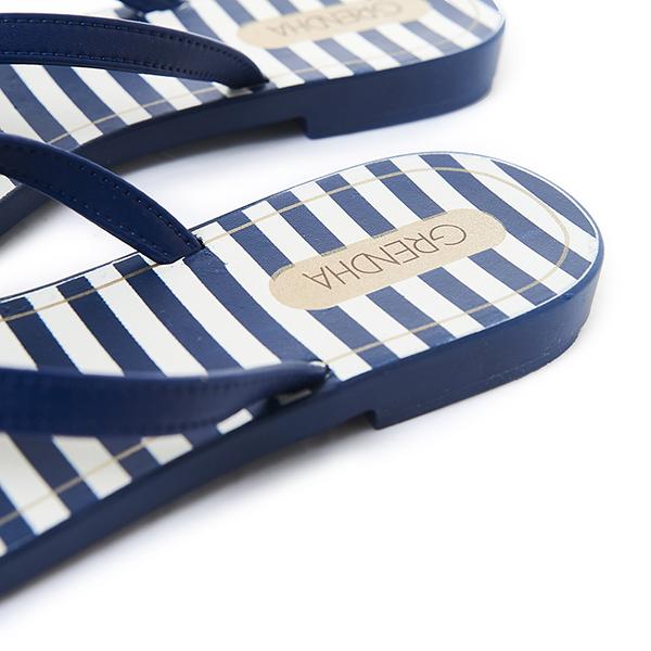 GRENDHA 海軍風立體蝴蝶結夾腳鞋-藍色
