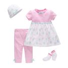 短袖套裝 Luvena Fortuna 小童 短袖洋裝+長褲+嬰兒帽子+嬰兒襪子 超值4件組 - 粉紅條紋小兔 H9676