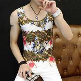 男士背心花色修身型健身跨欄運動緊身夏季韓版潮青年透氣打底汗衫