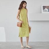 吊帶洋裝-純色簡約開叉休閒連身裙2色73xm11[時尚巴黎]
