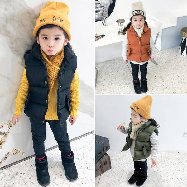 春冬季男童女童羽絨棉馬甲兒童立領背心加厚保暖外穿