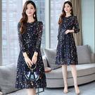 VK精品服飾 韓國風名媛雪紡收腰顯瘦碎花立領長袖洋裝