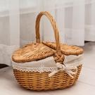 收納籃野餐籃子帶蓋藤編手提籃