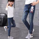 牛仔褲 牛仔褲中大童小女孩春款修身彈力褲韓版女童1-15歲鉛筆褲【小天使】