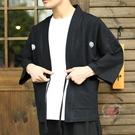 涼感和服外套男 日系復古和風居家日式和服男 棉麻開衫男 寬鬆薄款外套羽織道袍男-快速出貨
