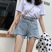 淺色牛仔短褲女2021春夏新款高腰韓版寬鬆寬管百搭超短熱褲薄 【七七小鋪】
