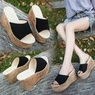 厚底拖鞋 2019夏季新款女拖鞋坡跟厚底高跟一字拖時尚外穿百搭涼鞋女士新款