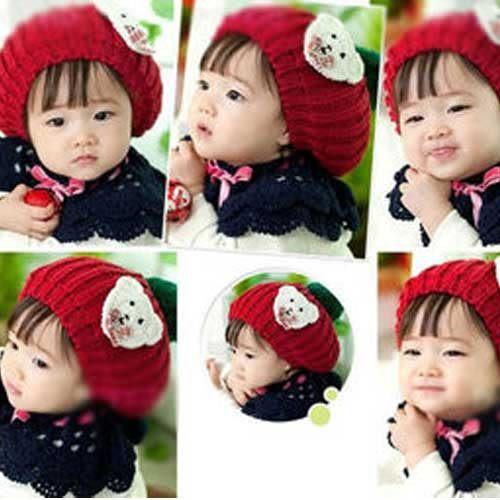 Qmishop 韓版秋冬季小孩帽韓國嬰兒童帽純手工兒童小熊毛線帽 針織帽 貝雷帽【QB104】