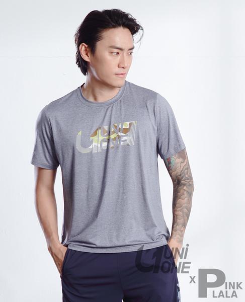 粉紅拉拉【PUNI598001】 UNIONE 吸濕排汗短袖印花圓領T恤 短袖舒適T 男生運動T恤 運動上衣 M-XXL
