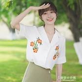 雪紡衫 新款雪紡刺繡花朵襯衣女原宿學生西裝領白色短袖襯衫夏  【喜迎新年】