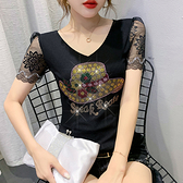 性感短t~百搭洋氣小衫時尚燙鉆蕾絲短袖T恤女上衣打底衫H329日韓屋