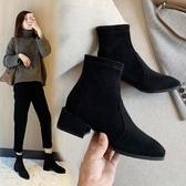 短靴年新款小短靴粗跟高跟女鞋秋冬季瘦瘦襪秋款加絨百搭馬丁靴子 伊蘿鞋包