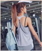 美背無袖運動上衣女網紅健身背心工字性感跑步速干t恤網紗瑜伽服