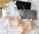 夏季新款抹胸吊帶冰絲少女文胸舒適一片式復古風純色修身顯瘦內衣  百搭潮品