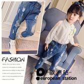牛仔長褲/女童裝寶寶兒童破洞休閒褲子「歐洲站」
