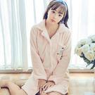 睡衣韓版冬季加厚法蘭絨長袖睡袍浴袍家居服 粉紅色