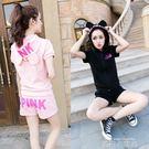 新款夏韓版學生寬鬆休閒運動套裝女原宿bf風短袖短褲跑步服兩件套 依凡卡時尚