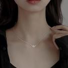 項鍊 925純銀W項鍊女輕奢小眾品牌愛情鎖骨鍊2021年新款字母2021設計感 晶彩 99免運