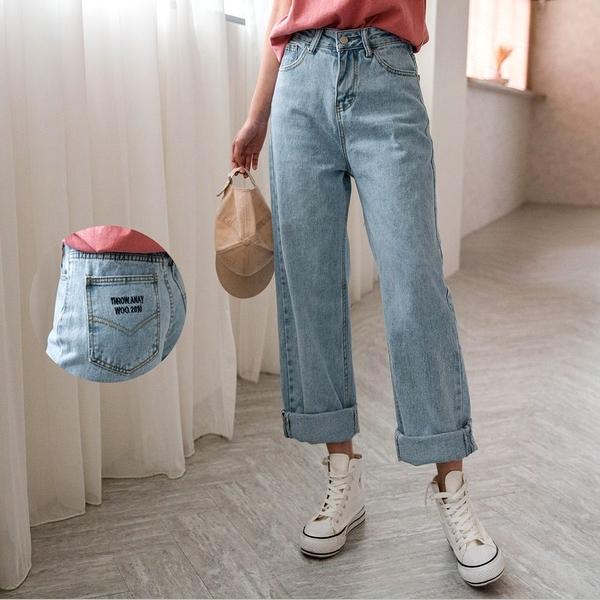 現貨-MIUSTAR 美式風格後口袋THROW英文刺繡直筒牛仔褲(共1色,S-XL)【NH0058】