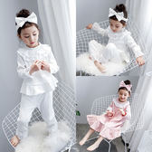 女童家居服套裝 冬秋新款正韓兒童公主花邊長袖睡衣 女孩居家服禮物限時八九折
